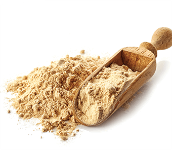 protein powder with wooden scoop