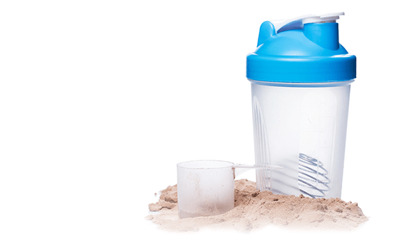 protein powder with to-go container
