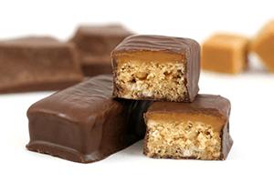 Real chocolate coated bars