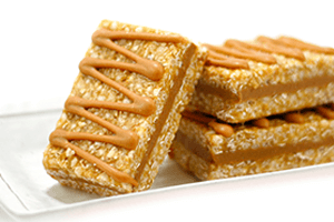 Triple layered slab protein bars