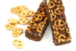 chocolate bars with pretzel toppings
