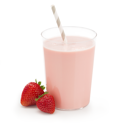 strawberry flavored dairy powder beverage in glass