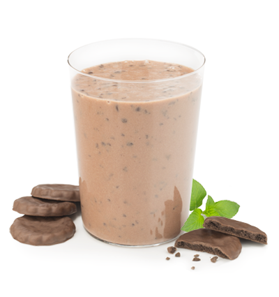 Mocha Mint protein beverage with chocolate mint cookies